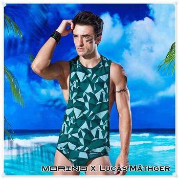 【MORINO X LUCAS】幾何迷彩時尚背心 綠色