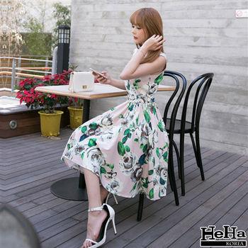 HeHa-露肩吊帶復古山茶花連身裙洋裝