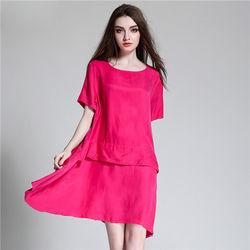 菟絲花大尺碼-寬鬆時尚銅氨絲連衣裙不規則襯衫裙-現貨+預購