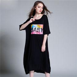 菟絲花大尺碼-長款莫代爾貼圖T恤連衣裙--現貨+預購