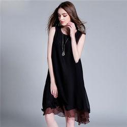 菟絲花大尺碼-雙層雪紡撞色拼接連衣裙背心裙--現貨+預購