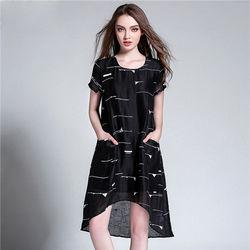 菟絲花大尺碼-不規則寬鬆幾何花紋短袖連衣裙-現貨+預購