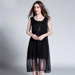 菟絲花大尺碼-不規則雪紡拼接連衣裙寬鬆背心裙-現貨+預購