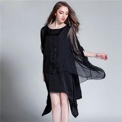 菟絲花大尺碼-寬鬆天絲雪紡連衣裙兩件套-現貨+預購