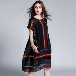 菟絲花大尺碼-寬鬆廓形彩條棉麻連衣裙兩件套-現貨+預購