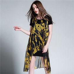 菟絲花大尺碼-天絲雪紡印花寬鬆大碼裙兩件-現貨+預購