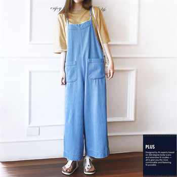 【SCL南加州丹寧時尚】T1621 淺藍清新#細肩寬管顯瘦牛仔連身褲裙