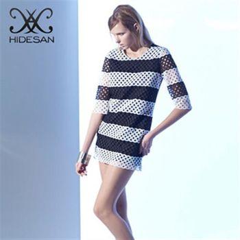 【HIDESAN海蒂山】都會時尚感黑白簍空洋裝
