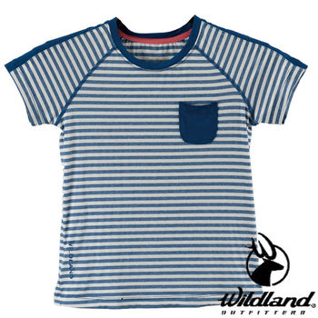 【荒野wildland】中童彈性條紋抗UV上衣 海藍色 (0A21688-52)