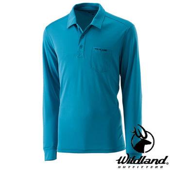 【荒野wildland】男疏水紗POLO長袖上衣 中藍色 (0A21632-77)