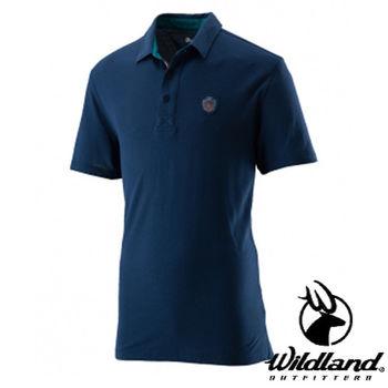【荒野wildland】男有機棉本布領排汗衣 深藍色 (0A21618-72)