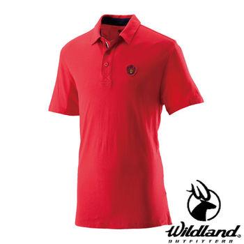 【荒野wildland】男有機棉本布領排汗衣 紅色 (0A21618-08)