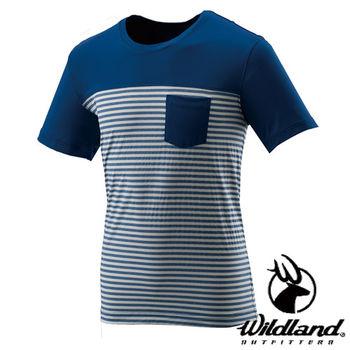 【荒野wildland】男彈性條紋抗UV上衣 海藍色 (0A21616-52)