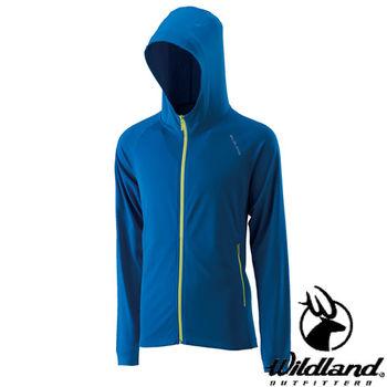 【荒野wildland】男涼感排汗抗UV外套 中藍色 (0A21696-77)