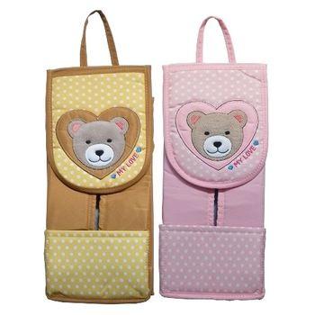愛心熊吊式面紙套F101-紅黃二入任組