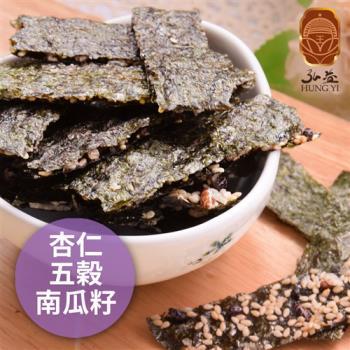 《弘益傳香世家》海苔脆片-杏仁+五穀+南瓜子(40g/包,共三包)