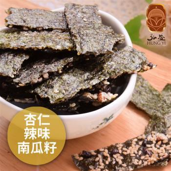 《弘益傳香世家》海苔脆片-杏仁+辣味+南瓜子(40g/包,共三包)