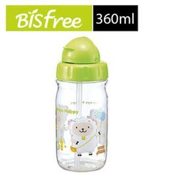 【樂扣樂扣】優質彩繪兒童水壺附吸管清潔刷替換吸管360ML-綠色