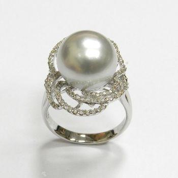 金石盟13mm天然南洋白珍珠鑽戒系列 No.02