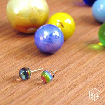 ART64 七彩星球 球狀彩膜 925純銀耳環 (大)