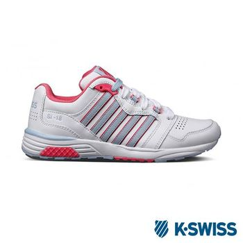 K-Swiss SI-18 Trainer III LTHR復古慢跑鞋-女-白/淺藍/玫紅