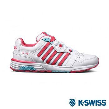 K-Swiss SI-18 Trainer III LTHR復古慢跑鞋-女-白/玫紅/水藍