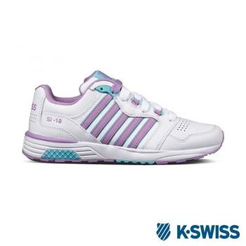 K-Swiss SI-18 Trainer III LTHR復古慢跑鞋-女-白/淡紫/水藍