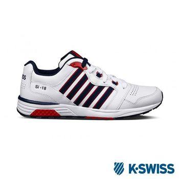 K-Swiss SI-18 Trainer III LTHR復古慢跑鞋-男-白/深藍/紅