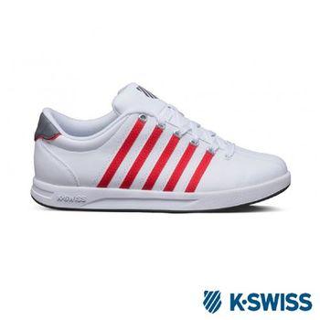 K-Swiss Court Pro S經典休閒運動鞋-男-白/紅