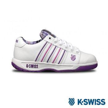 K-Swiss Eadall休閒運動鞋-女-白/紫格紋