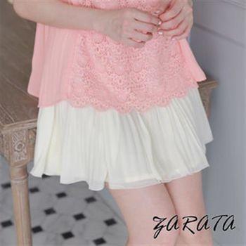 【ZARATA】鬆緊褲頭百褶雪紡短裙(杏色)