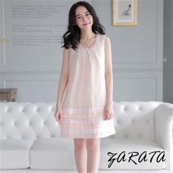 【ZARATA】圓領無袖蕾絲領壓折線條娃娃洋裝(粉色)