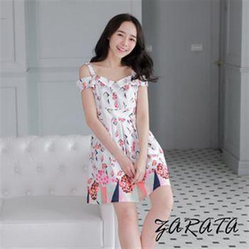 【ZARATA】一字領鬆緊肩帶露肩花朵連身洋裝(白色)