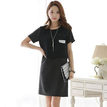 【Jisen】韓版時尚條紋假二件洋裝