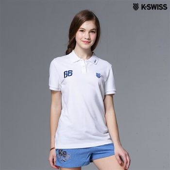 K-Swiss Solid Polo短袖Polo衫-女-白