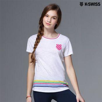 K-Swiss Striped Tee條紋短袖T恤-女-白  S-XXL