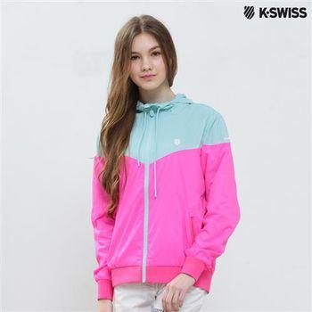 K-Swiss Woven Jacket抗UV風衣外套-女-粉藍  S-XXL