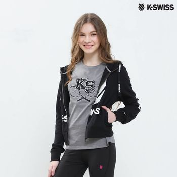 K-Swiss Zip Up Jacket休閒連帽外套-女-黑  S-XXL