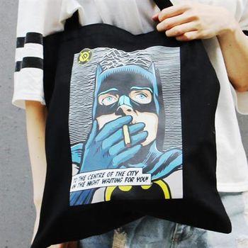 【SEIO】 帆布包 禮物 歐美經典 黑色設計環保帆布包 經典黑色 英雄 扁蝠俠 交換禮物 手拿 肩背包