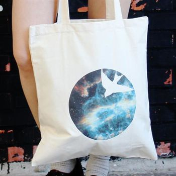 【SEIO】 帆布包 禮物 歐美經典 原色設計環保帆布包 經典宇宙 燕子 交換禮物 手拿 肩背包