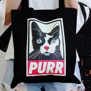 【SEIO】 帆布包 禮物 歐美經典 黑色設計環保帆布包 經典黑色 PURR 貓咪 交換禮物 手拿 肩背包