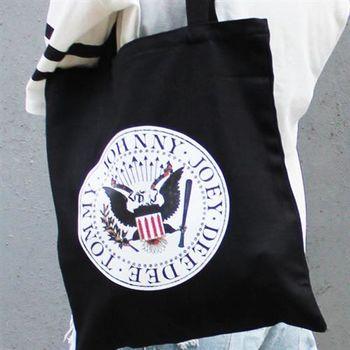 【SEIO】 帆布包 禮物 歐美經典 黑色設計環保帆布包 經典黑色 樂團 搖滾 交換禮物 手拿 肩背包