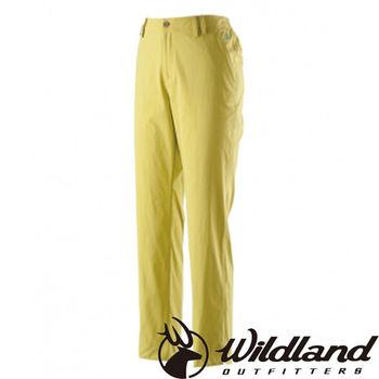【荒野wildland】女彈性透氣抗UV九分褲 芥末黃 (0A21331-40)