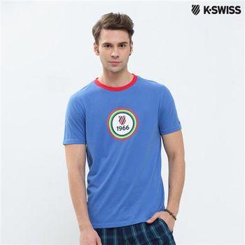 K-Swiss Graphic Tee印花短袖T恤-男-寶藍  S-XXL