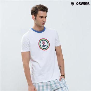 K-Swiss Graphic Tee印花短袖T恤-男-白  S-XXL