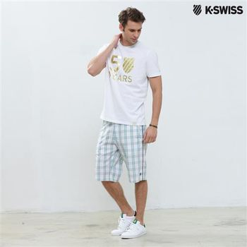 K-Swiss Plaid Shorts格紋休閒短褲-男-白  S-XXL