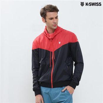 K-Swiss Woven Jacket抗UV風衣外套-男-黑/紅 S-XXL
