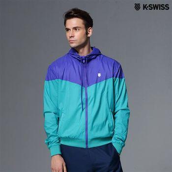 K-Swiss Woven Jacket抗UV風衣外套-男-寶藍 S-XXL