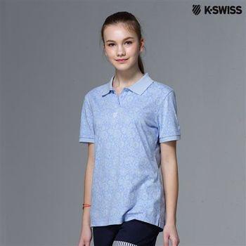 K-Swiss Allover Print Polo短袖Polo衫-女-天空藍  S-XXL