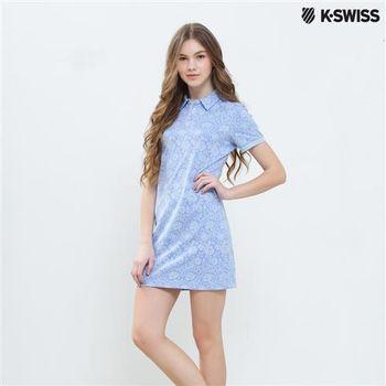 K-Swiss Allover Print Tennis Dress連身網球洋裝-女-天空藍  S-XXL